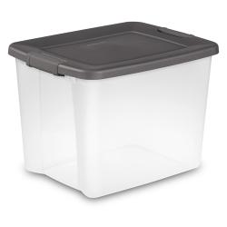 Sterilite ® 50 Quart Clear ShelfTote with Gray Lid - 19-7/8