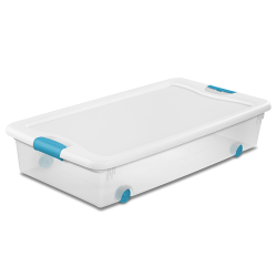 56 qt. Sterilite® Wheeled Latch Box with White Lid & Blue Handles