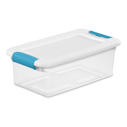 6 qt. Sterilite® Latch Box with White Lid & Blue Handles