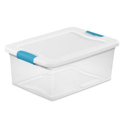 15 qt. Sterilite® Latch Box with White Lid & Blue Handles