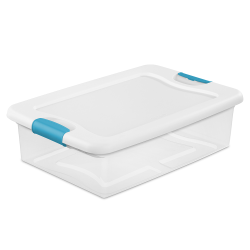 32 qt. Sterilite® Latch Box with White Lid & Blue Handles