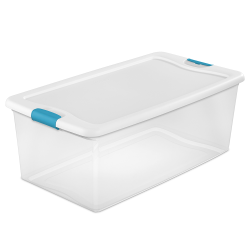 106 qt. Sterilite® Latch Box with White Lid & Blue Handles