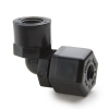 "3/8"" Nom. Tube OD x 1/4"" Female NPTF Black Polypropylene Elbow"