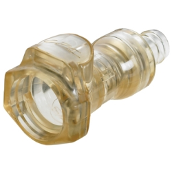 """3/8"""" In-Line Hose Barb HFC 39 Series Polysulfone Coupling Body - Shutoff (Insert Sold Separately)"""