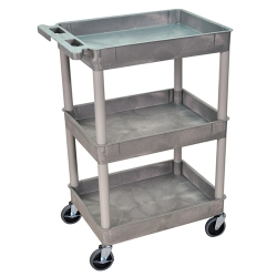 Gray 3 Shelf (300 lbs. Capacity) Tub Cart