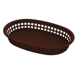 Brown Round End Rectangle Food Basket