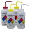 1000mL GHS Labeled Right-to-Know, Vented Wash Bottles (Acetone, Isopropanol, Bleach & Ethanol)