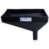 "12"" x 8"" Rectangular Black Tamco® Funnel with 1-1/2"" OD Offset Spout"
