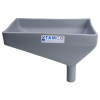 "12"" x 8"" Rectangular Light Gray Tamco® Funnel with 1-1/2"" OD Offset Spout"