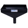 "16"" x 10"" Rectangular Black Tamco® Funnel with 2"" OD Center Spout"
