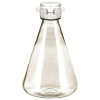 1 Liter Sterile Clear Erlenmeyer Flasks with White 53mm VersaCaps®