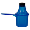 60cc Blue Polypropylene Scoop with Attached Funnel & Cap