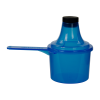 90cc Blue Polypropylene Scoop with Attached Funnel & Cap
