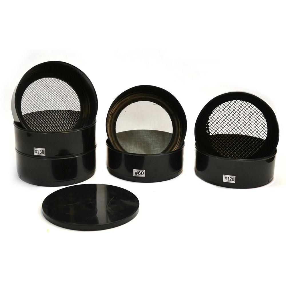 Set of 6 Stainless Steel Mesh Plastic Testing Sieve