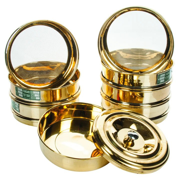 Set of 6 Stainless Steel Mesh Brass Testing Sieve