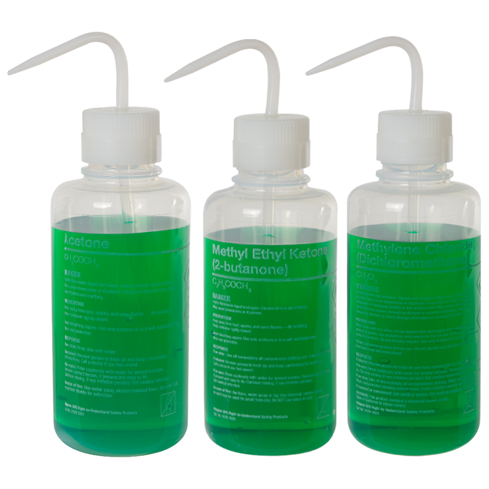 Thermo Scientific™ Nalgene™ Right-to-Understand FEP Safety Wash Bottles with GHS Labeling for Harsh Chemicals