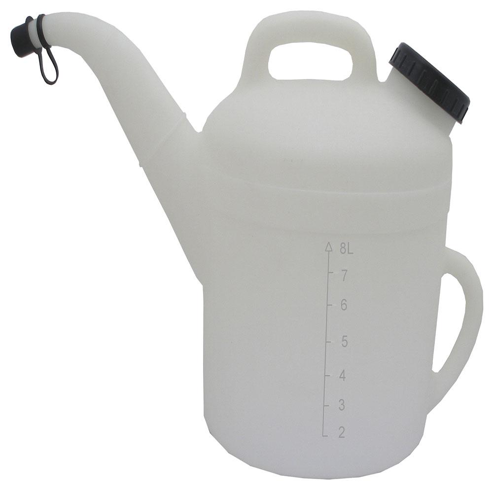 """10 Liter Natural HDPE Pitcher 13"""" D x 15"""" L-Spout x 13 1/2"""" H"""