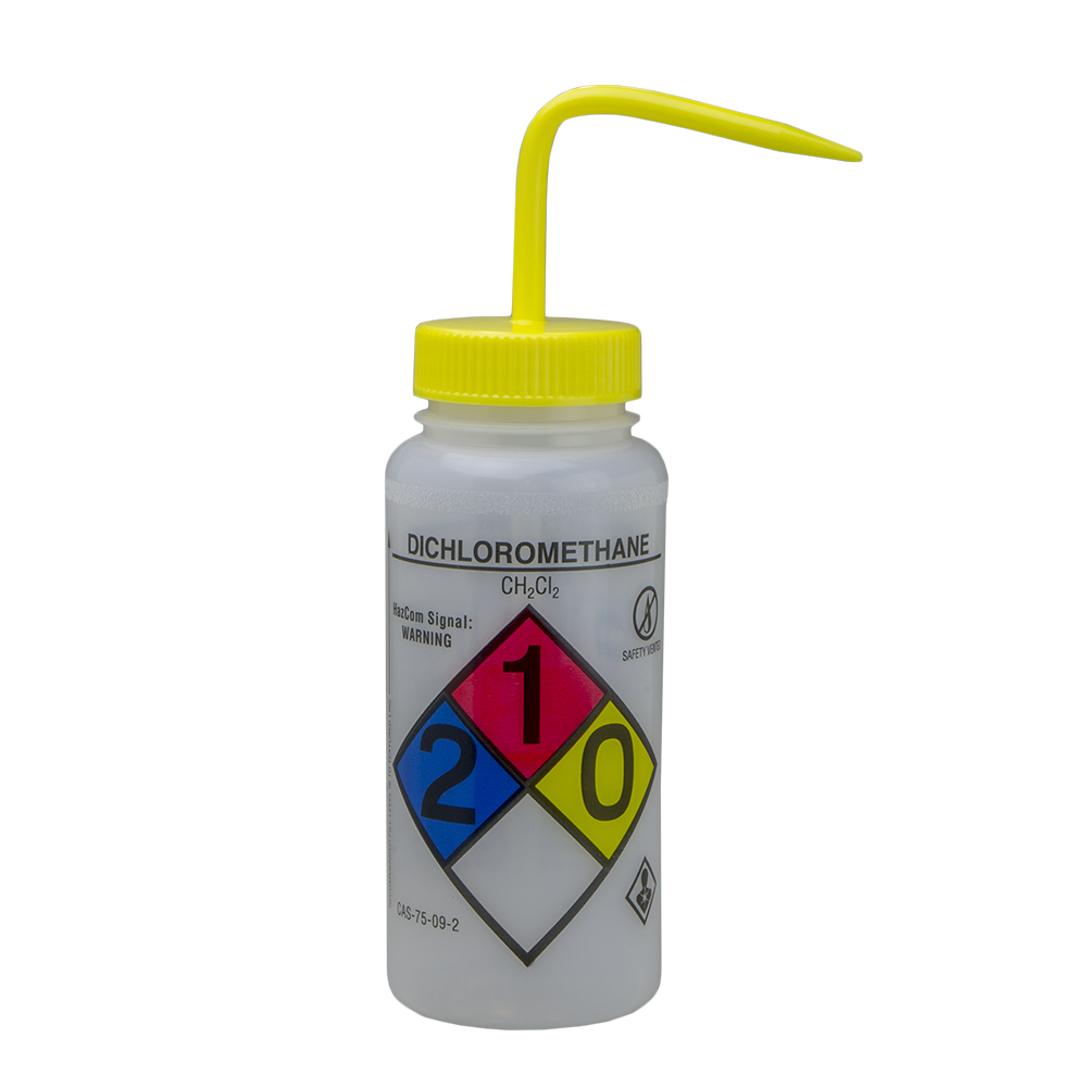 500mL Dichloromethane GHS Labeled Right-to-Know, Vented Wash Bottle