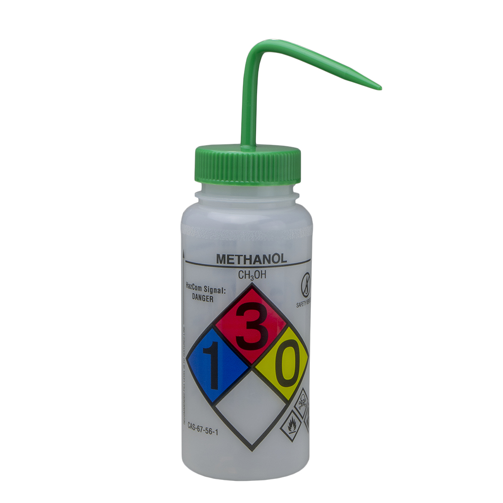 500mL Methanol GHS Labeled Right-to-Know, Vented Wash Bottle