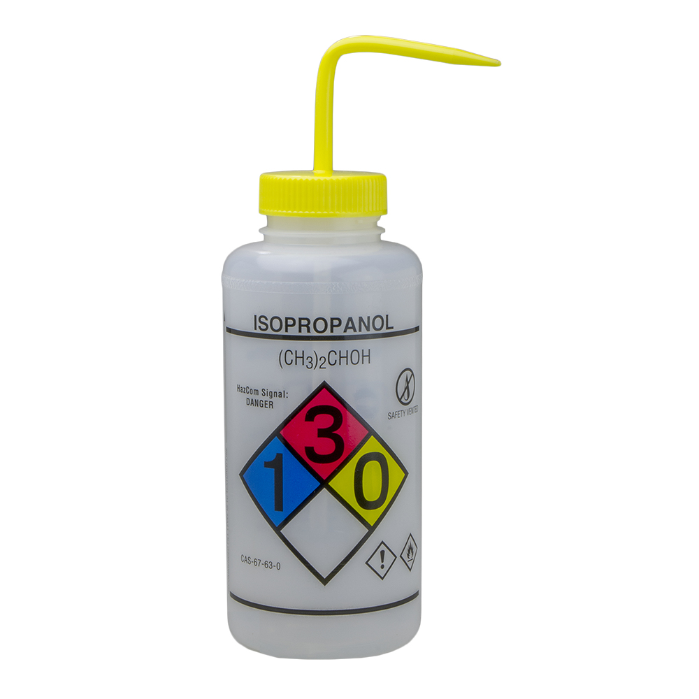 1000mL Isopropanol GHS Labeled Right-to-Know, Vented Wash Bottle