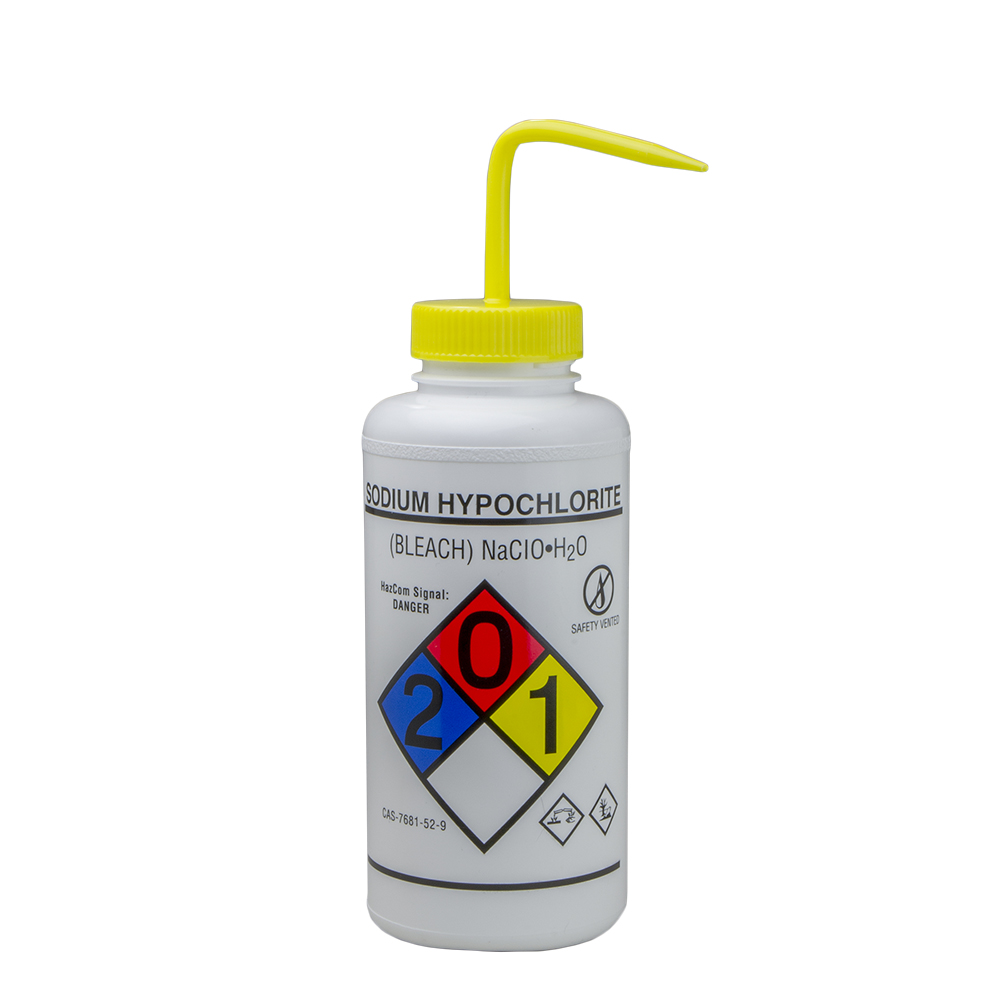 1000mL Bleach GHS Labeled Right-to-Know, Vented Wash Bottle