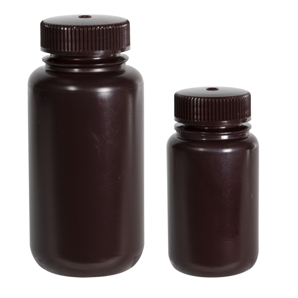 8 oz./250mL Nalgene™ Amber Wide Mouth Economy Bottles with 43mm Caps - Case of 72