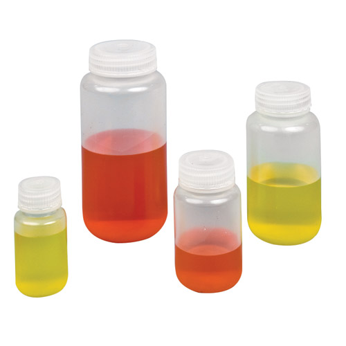 125mL Wide Mouth HDPE Reagent Bottles with 38/415 Caps - Pack of 12