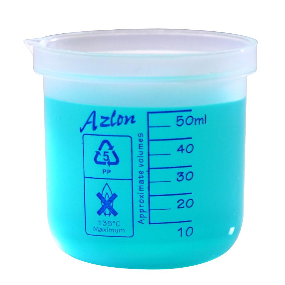 50mL Azlon® Polypropylene Square Ratio Beakers
