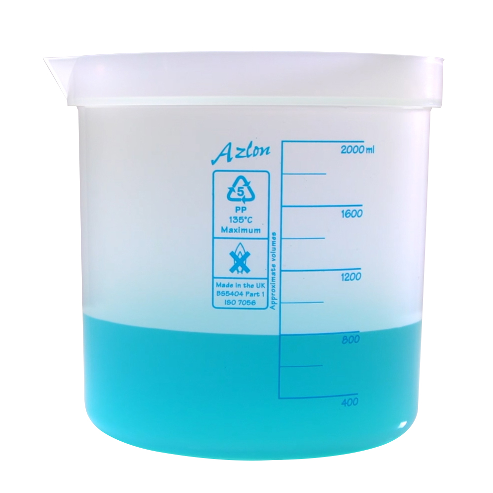 2000mL Azlon® Polypropylene Square Ratio Beakers