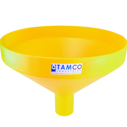 """20-7/8"""" Top Diameter Yellow Tamco® Funnel with 4"""" OD Spout"""