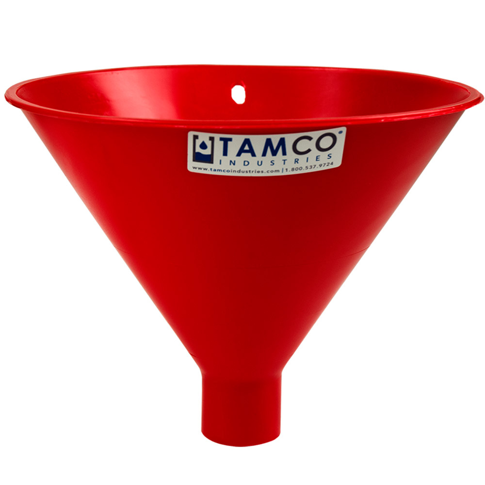 "10"" Top Diameter Red Tamco® Utility Funnel with 1-3/4"" OD Spout"