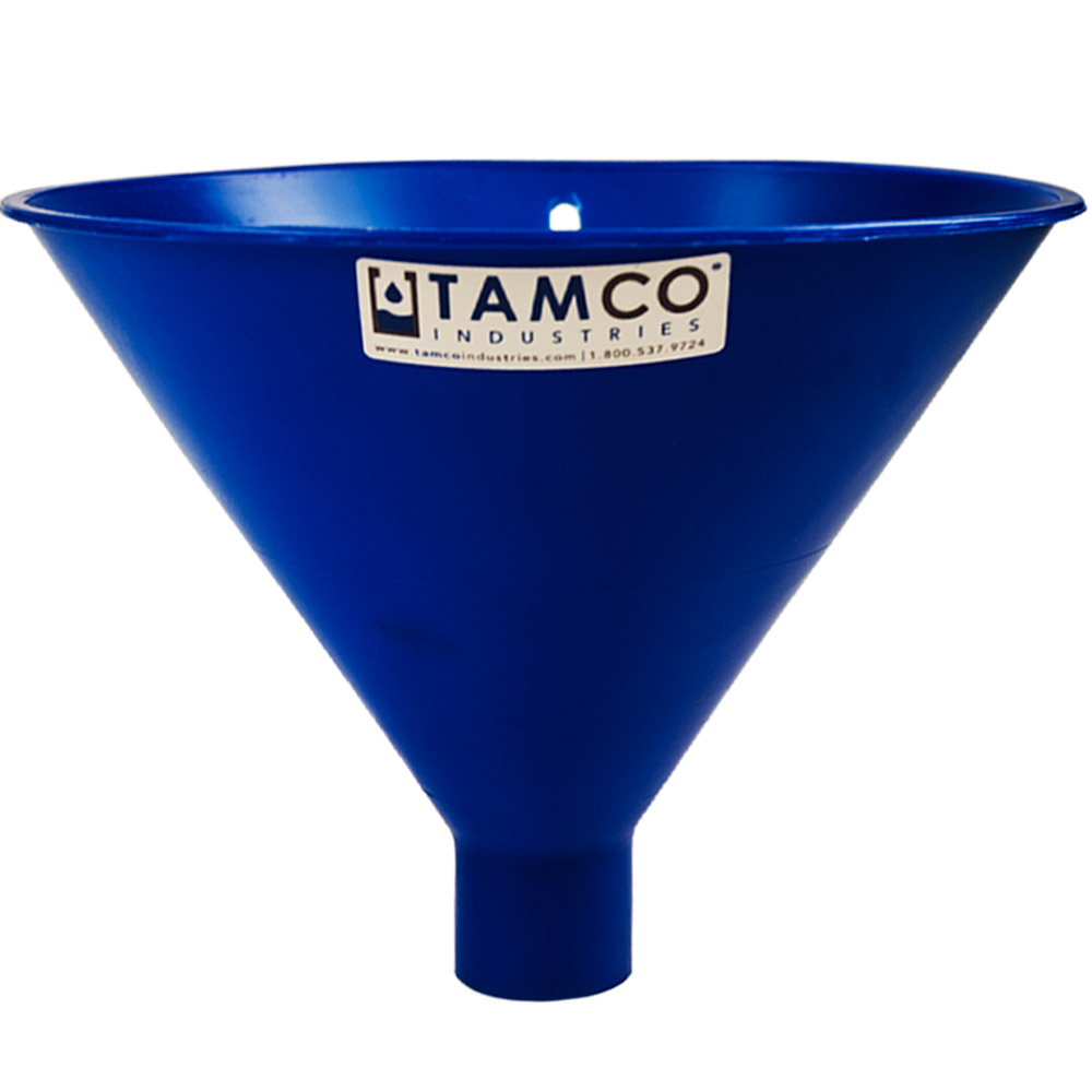 "10"" Top Diameter Blue Tamco® Utility Funnel with 1-3/4"" OD Spout"