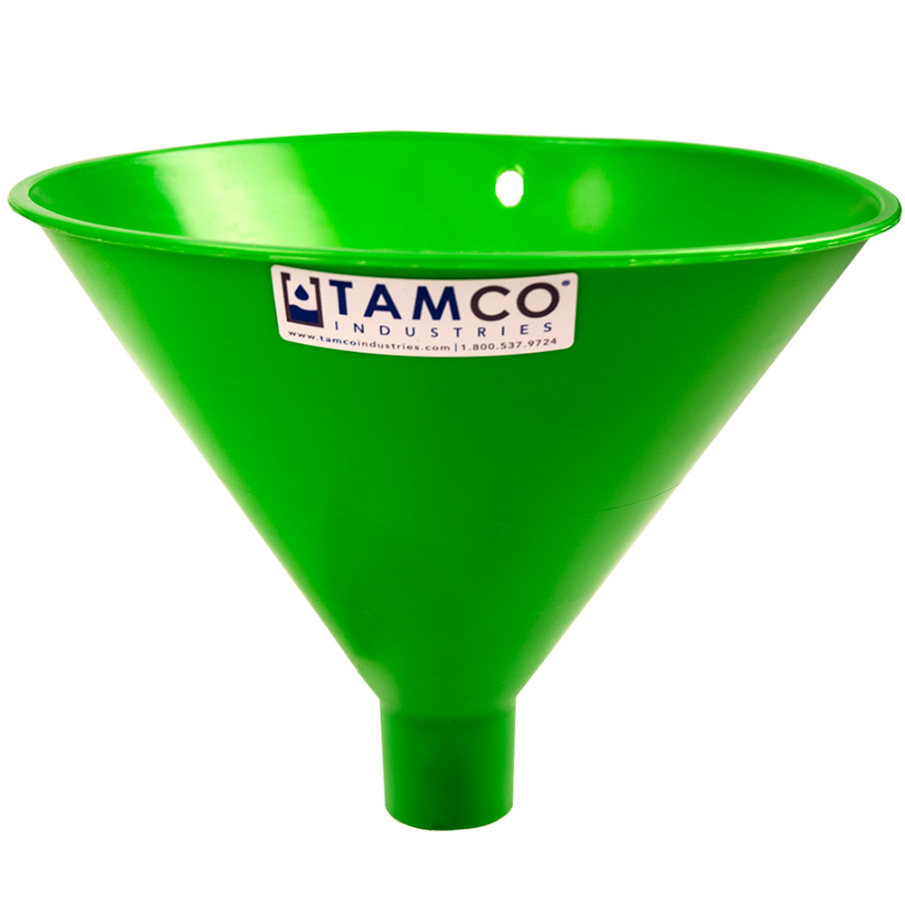 "10"" Top Diameter Green Tamco® Utility Funnel with 1-3/4"" OD Spout"