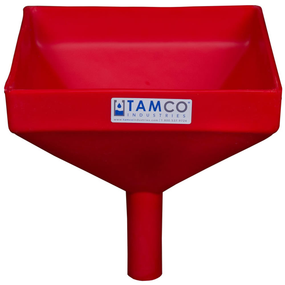 """10"""" Square Red Tamco® Funnel with 1-1/2"""" OD Spout"""