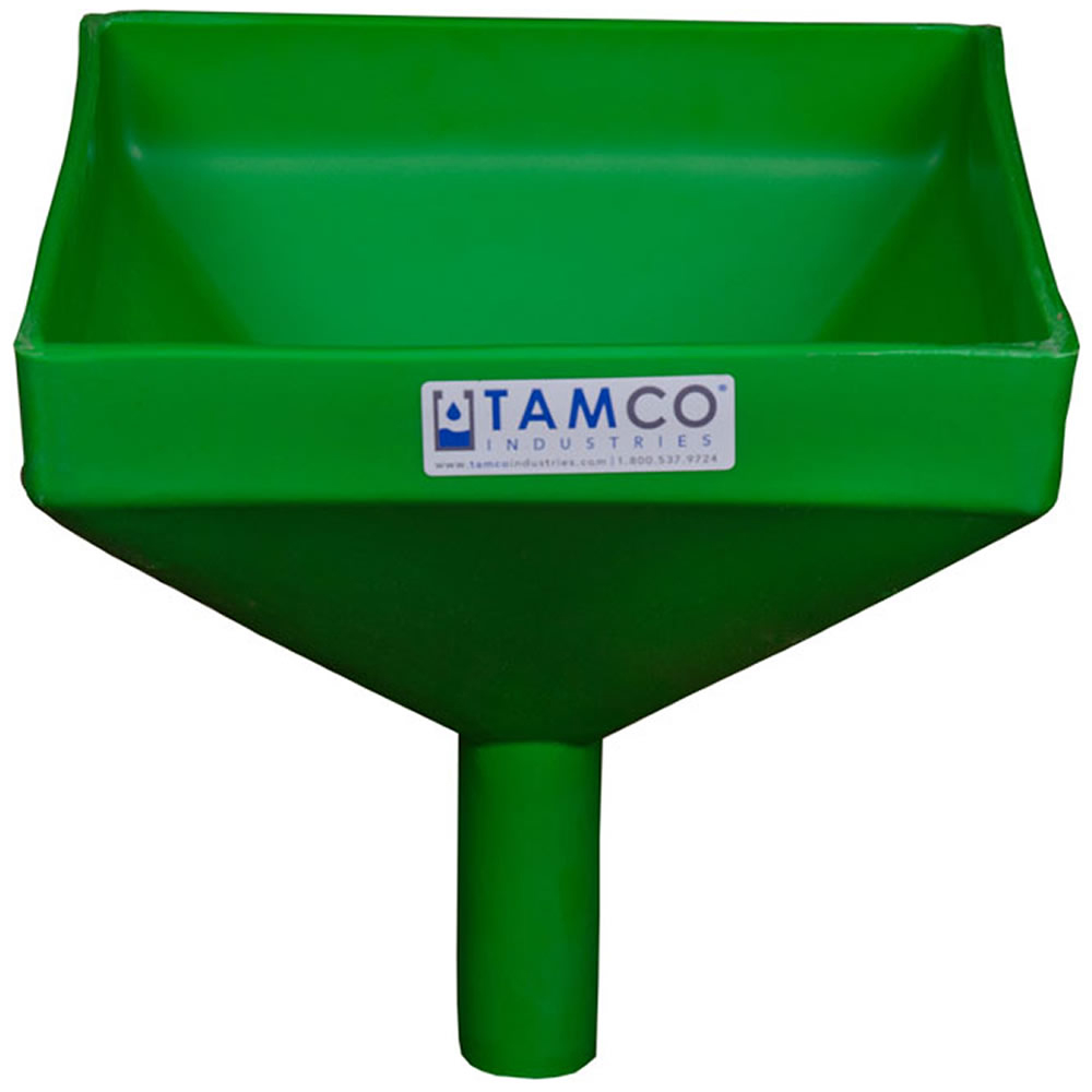 """10"""" Square Green Tamco® Funnel with 1-1/2"""" OD Spout"""
