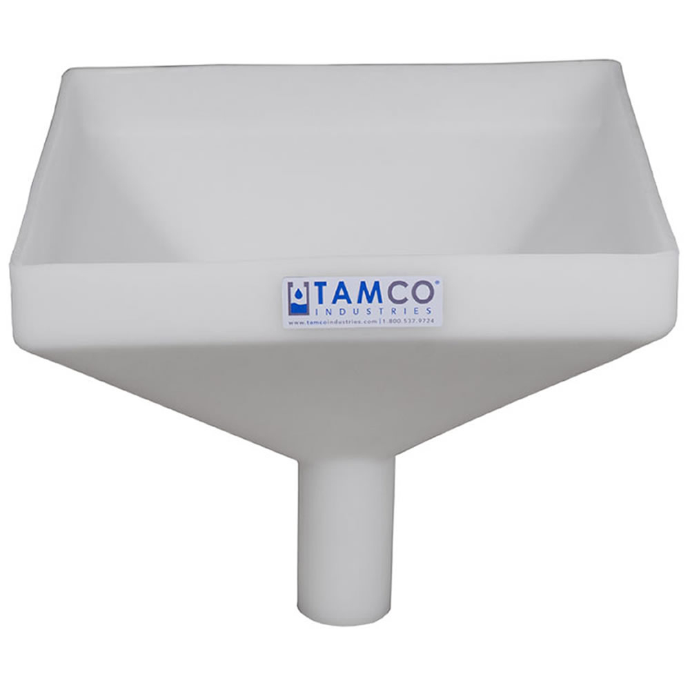 """12"""" Square Natural Tamco® Funnel with 2"""" OD Spout"""