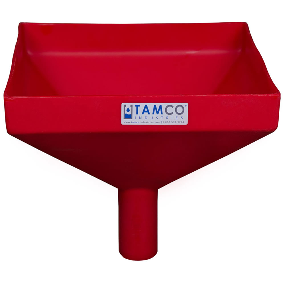 """12"""" Square Red Tamco® Funnel with 2"""" OD Spout"""