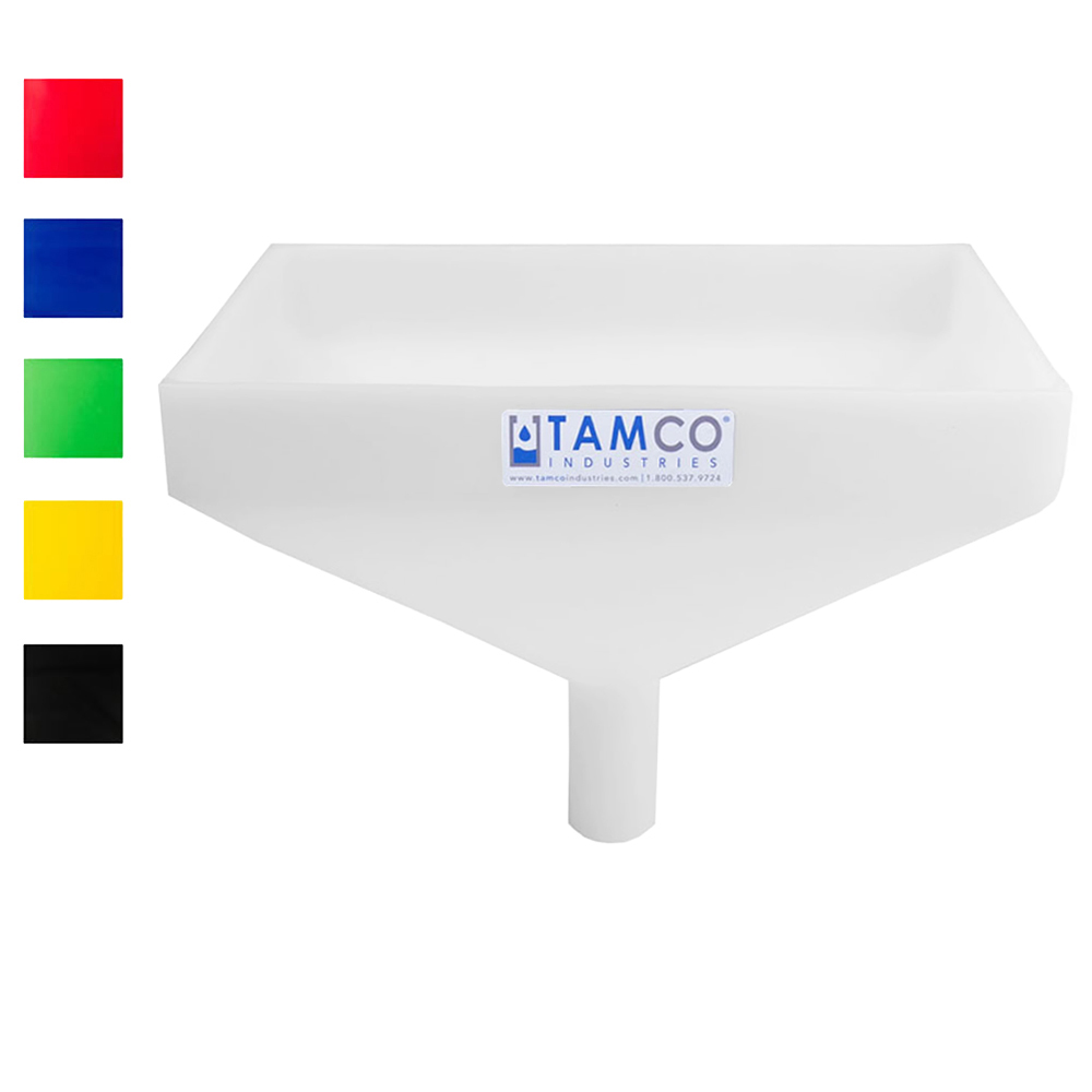 "Tamco® Heavy Duty 12"" x 8"" Rectangular Funnel with Center Spout"