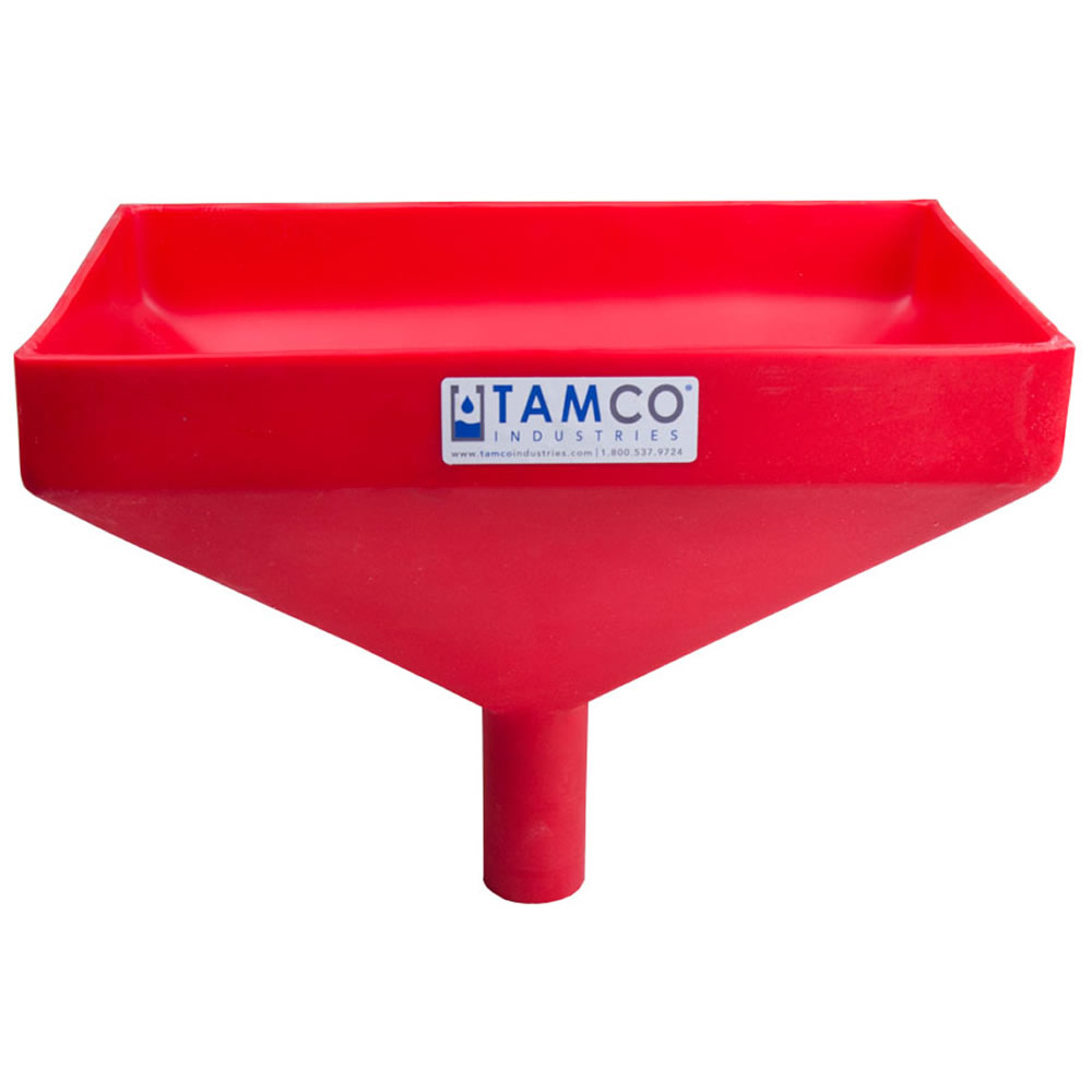 """12"""" x 8"""" Rectangular Red Tamco® Funnel with 1-1/2"""" OD Center Spout"""