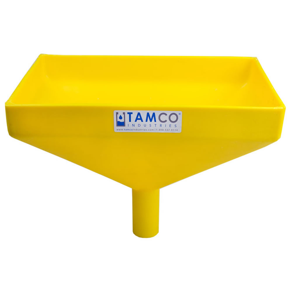 """12"""" x 8"""" Rectangular Yellow Tamco® Funnel with 1-1/2"""" OD Center Spout"""