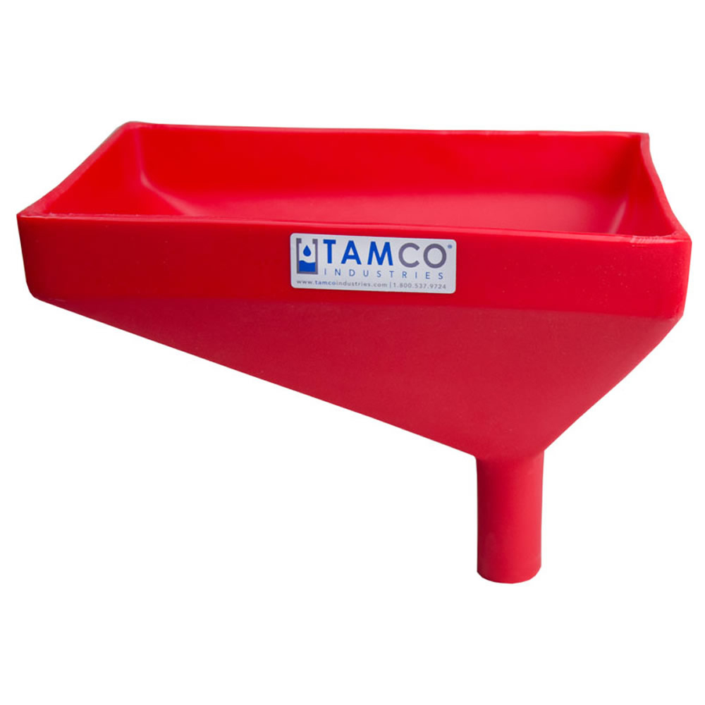 """12"""" x 8"""" Rectangular Red Tamco® Funnel with 1-1/2"""" OD Offset Spout"""