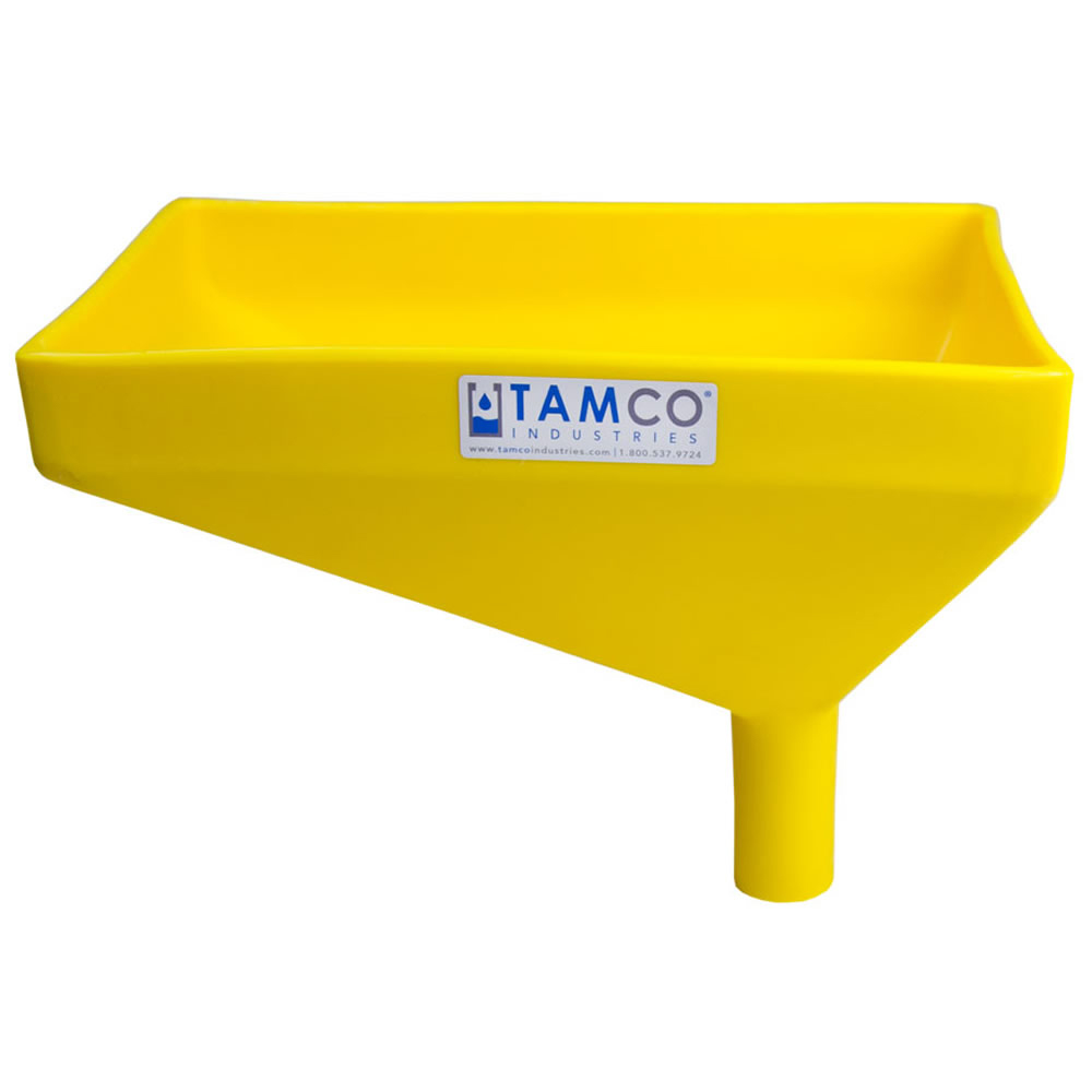 """12"""" x 8"""" Rectangular Yellow Tamco® Funnel with 1-1/2"""" OD Offset Spout"""