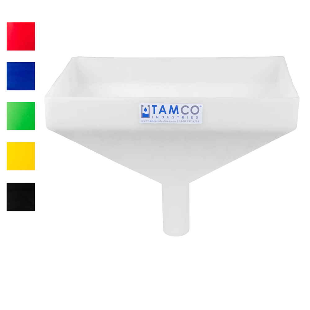"Tamco® Heavy Duty 16"" x 10"" Rectangular Funnel with Center Spout"