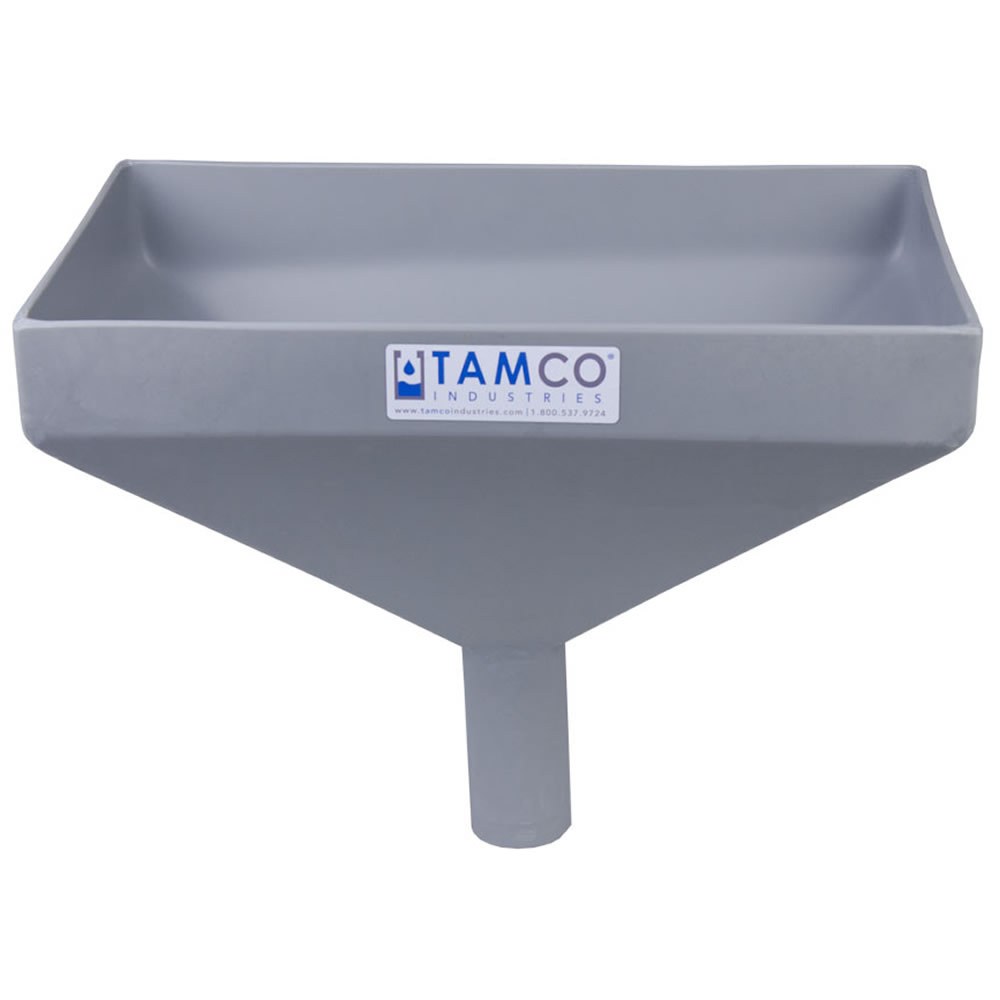 """16"""" x 10"""" Rectangular Light Gray Tamco® Funnel with 2"""" OD Center Spout"""