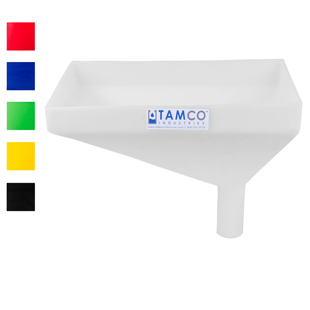 "Tamco® Heavy Duty 16"" x 10"" Rectangular Funnel with Offset Spout"
