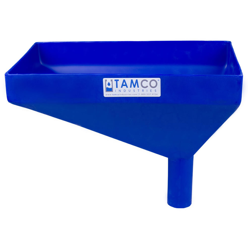 "16"" x 10"" Rectangular Blue Tamco® Funnel with 2"" OD Offset Spout"