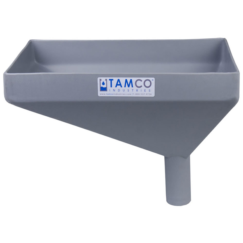 """16"""" x 10"""" Rectangular Light Gray Tamco® Funnel with 2"""" OD Offset Spout"""