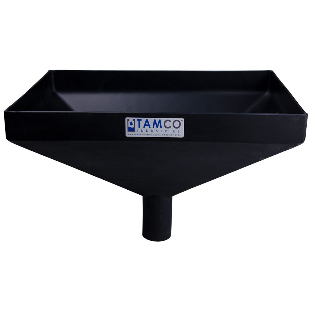 """20"""" x 13"""" Rectangular Black Tamco® Funnel with 2-1/2"""" OD Center Spout"""
