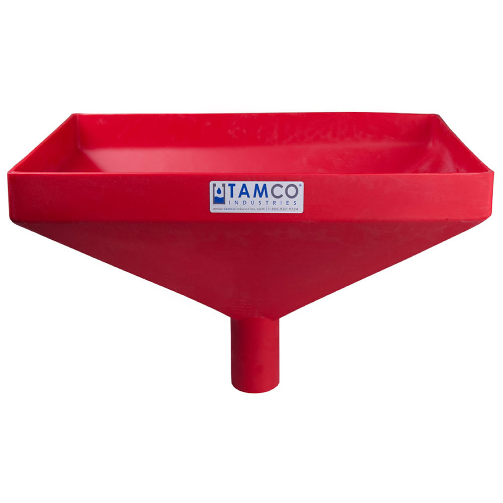 """20"""" x 13"""" Rectangular Red Tamco® Funnel with 2-1/2"""" OD Center Spout"""