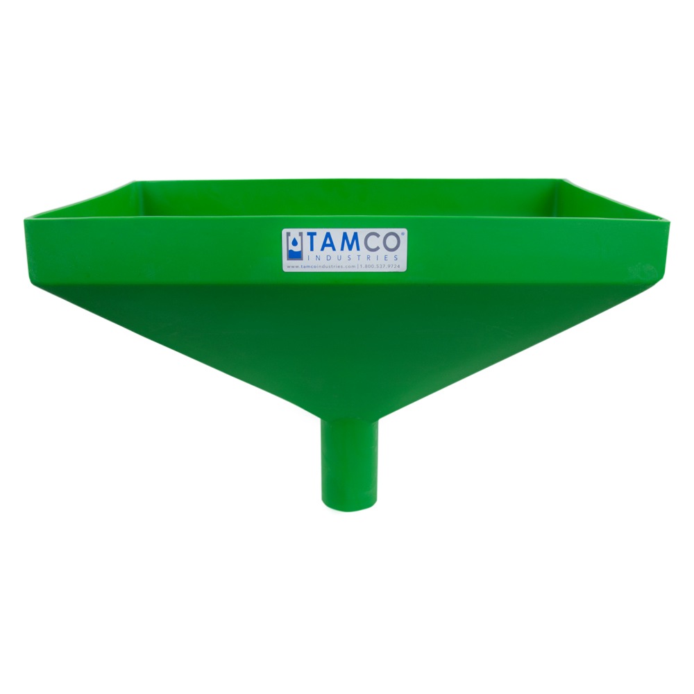 """20"""" x 13"""" Rectangular Green Tamco® Funnel with 2-1/2"""" OD Center Spout"""